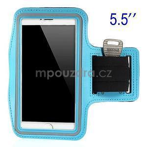 Bežecké puzdro na ruku pre mobil do veľkosti 152 x 80 mm - svetlomodré - 1