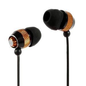 Špuntová sluchátka do mobilu, bronzová / čierná - 1