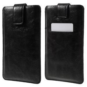 Univerzální flipové pouzdro pro mobily do 150 x 85 mm - černé - 1