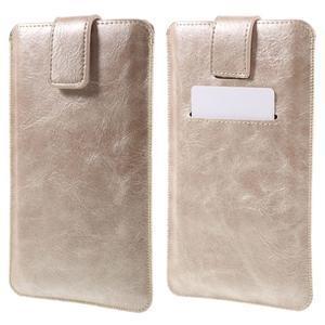Univerzálne flipové puzdro pre mobily do 150 x 85 mm - zlatoružové - 1