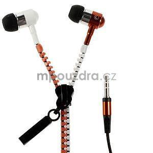 Dvoubarevná zipová sluchátka do uší, oranžová / bílá - 1