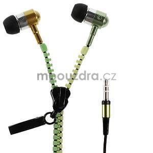 Dvoubarevná zipová sluchátka do uší, zelená / žltá - 1