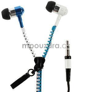 Dvoubarevná zipová sluchátka do uší, bílá / modrá - 1
