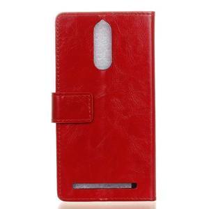 Horse PU kožené puzdro pre mobil Lenovo K5 Note - červené - 2