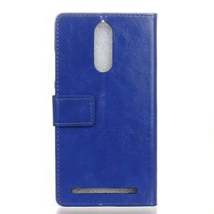 Horse PU kožené puzdro pre mobil Lenovo K5 Note - modré - 2