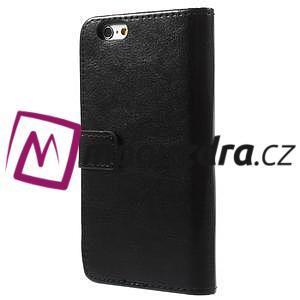 Peňaženkové kožené puzdro na iPhone 6, 4.7 - čierné - 2