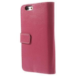 Peňaženkové kožené puzdro na iPhone 6, 4.7 - růžové - 2