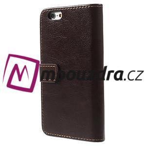 Peňaženkové kožené puzdro na iPhone 6, 4.7 - hnedé - 2
