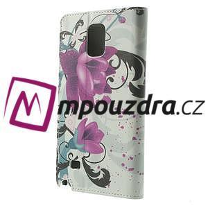 Peňaženkové puzdro pre Samsung Galaxy Note 4- fialový kvet - 2