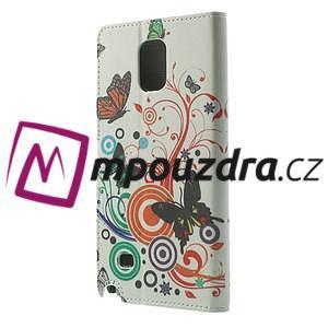 Peňaženkové puzdro na Samsung Galaxy Note 4- barevní motýlci - 2
