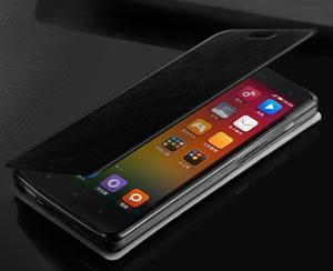 Flipové kožené puzdro na Xiaomi Mi4- čierné - 2