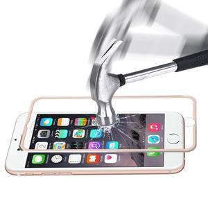 Hat celopološné fixačné tvrdené sklo s 3D rohy na iPhone 7 a iPhone 8 - ružovozlaté lemy - 2