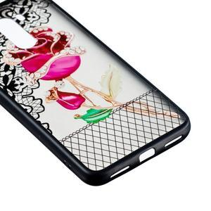 Lace gélový obal s plastovými zády pre Xiaomi Pocophone F1 - ruže - 2
