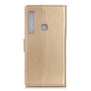 Litchi PU kožené peňaženkové puzdro s textúrou na Samsung Galaxy A9 - zlaté - 2
