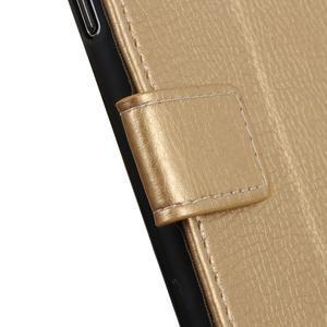 Litchi PU kožené peňaženkové puzdro na Samsung Galaxy A50 - zlaté - 2