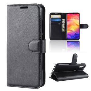 Stand PU kožené peňaženkové puzdro na Xiaomi Redmi Note 7 - čierne - 2