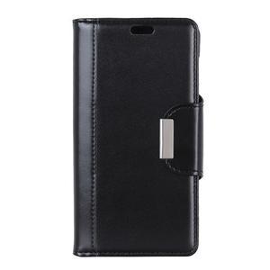 Wallet PU kožené peňaženkové puzdro na Xiaomi Redmi Note 7 - čierne - 2