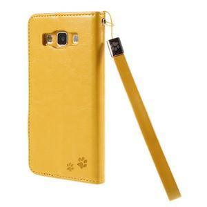 Mačička Domi PU kožené puzdro na Samsung Galaxy A5 - žlté - 2