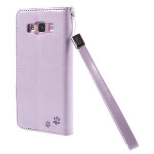 Mačička Domi PU kožené puzdro na Samsung Galaxy A5 - fialové - 2