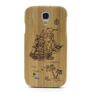 Drevené puzdro rozepínací pre Samsung Galaxy S4 - loď - 2