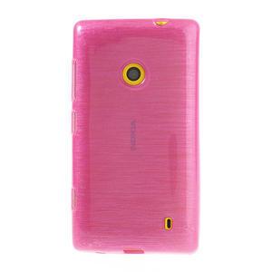 Gélové kartáčové puzdro na Nokia Lumia 520- růžové - 2