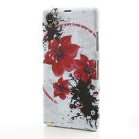 Gelové pouzdro na Sony Xperia Z1 C6903 L39- červený květ - 2/5