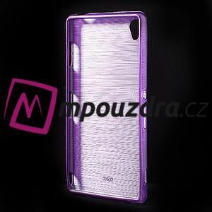 Gélové kartáčové puzdro pre Sony Xperia Z3 D6603 - fialové - 2