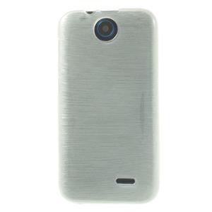 Gélové kartáčované puzdro na HTC Desire 310- biele - 2