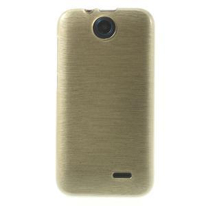Gélové kartáčované puzdro na HTC Desire 310- zlaté - 2