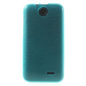 Gélové kartáčované puzdro na HTC Desire 310- modré - 2