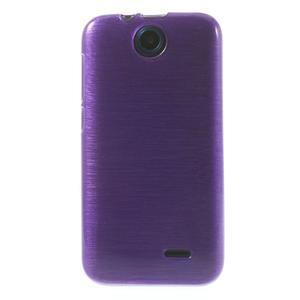 Gélové kartáčované puzdro na HTC Desire 310- fialové - 2