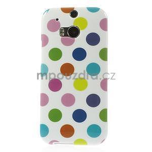 Gélové-PUNTÍKY puzdro pre HTC one M8- bílofarebné - 2