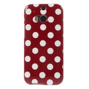 Gélové-PUNTÍKY puzdro pre HTC one M8- červené - 2