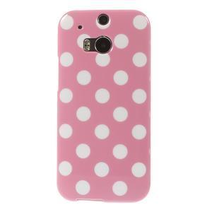 Gélové-PUNTÍKY puzdro pre HTC one M8- růžové - 2