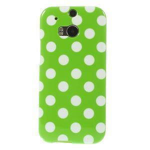 Gélové-PUNTÍKY puzdro pre HTC one M8- zelené - 2