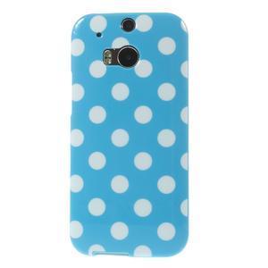 Gélové-PUNTÍKY puzdro pre HTC one M8- modré - 2