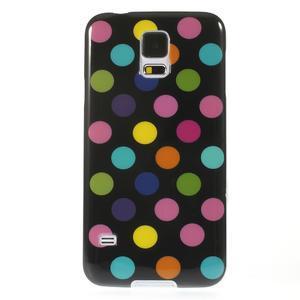 Gelové puntíkaté pouzdro na Samsung Galaxy S5- černobarevné - 2
