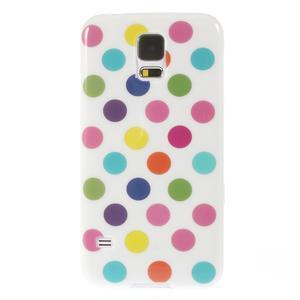 Gélové puntíkaté puzdro pre Samsung Galaxy S5- bílofarebné - 2
