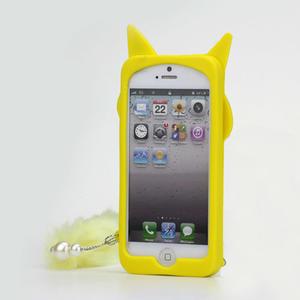 Gélové 3D puzdro na iPhone 5, 5s- kočka žltá - 2