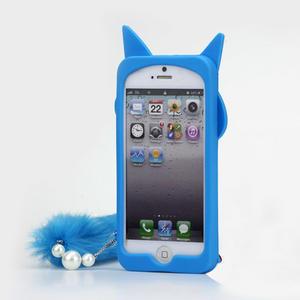 Gélové 3D puzdro na iPhone 5, 5s- kočka modrá - 2