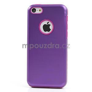 Gélové metalické puzdro pre iPhone 5C- fialové - 2