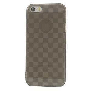 Gel-kostkaté puzdro pre iPhone 5, 5s- sivé - 2