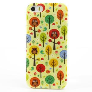Gélové puzdro pre iPhone 5, 5s- Sovy a stromy - 2