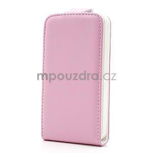 Flipové puzdro pre iPhone 4, 4s- svetleružové - 2