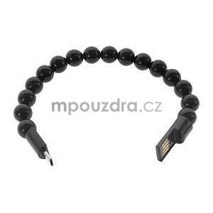 Korálkový náramek micro USB, čierný - 2