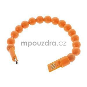 Korálkový náramek micro USB, oranžový - 2