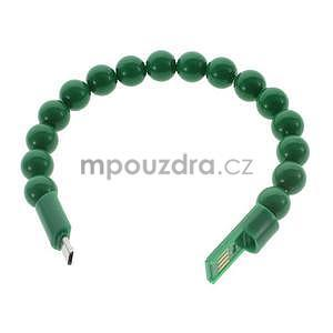 Korálkový náramek micro USB, zelený - 2