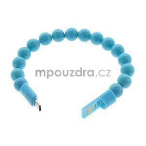 Korálkový náramek micro USB, světle modrý - 2