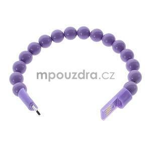 Korálkový náramek micro USB, fialový - 2