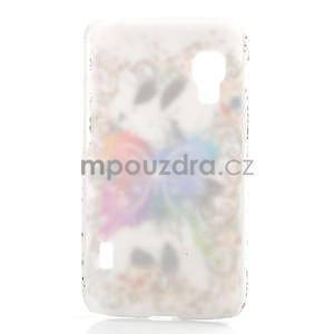 Plastové puzdro pre LG Optimus L5 Dual E455- motýl biele pozadí - 2